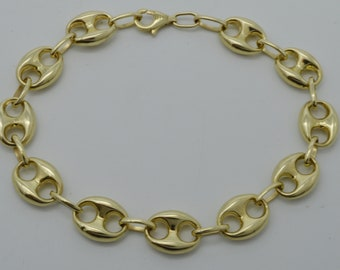 23b63a431a04d Real 10K Yellow Gold 8mm Mens Puffed Mariner Gucci Link Chain Bracelet 8gr