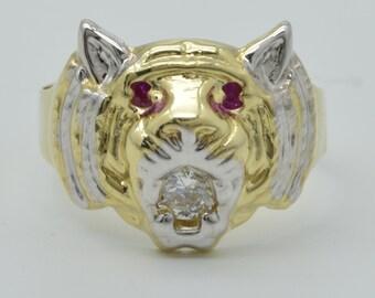 Véritable 14K diamant solide or jaune hommes coupe anneau de tête de tigre