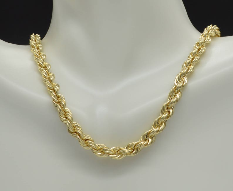 be9d92e296427 10K Yellow REAL GOLD Hollow Rope Chain Necklace 6mm 16'' 18'' 20'' 22