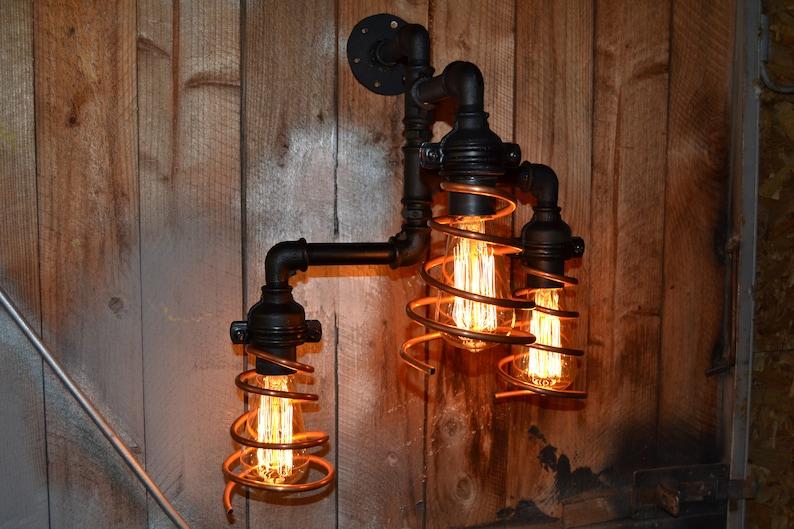 Industriale illuminazione tubo luce applique antico edison etsy