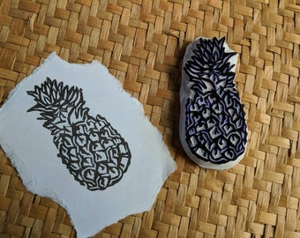 Pineapple Stamp, Handcarved Rubber Stamp, Handmade