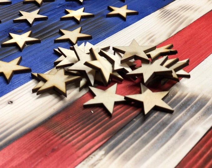 50 Wooden stars Several sizes 1 1/4 inch, 1 1/2 inch, 5/8 inch , Flag Building , Confetti .5 inch, 1.25 inch, 1.5 inch