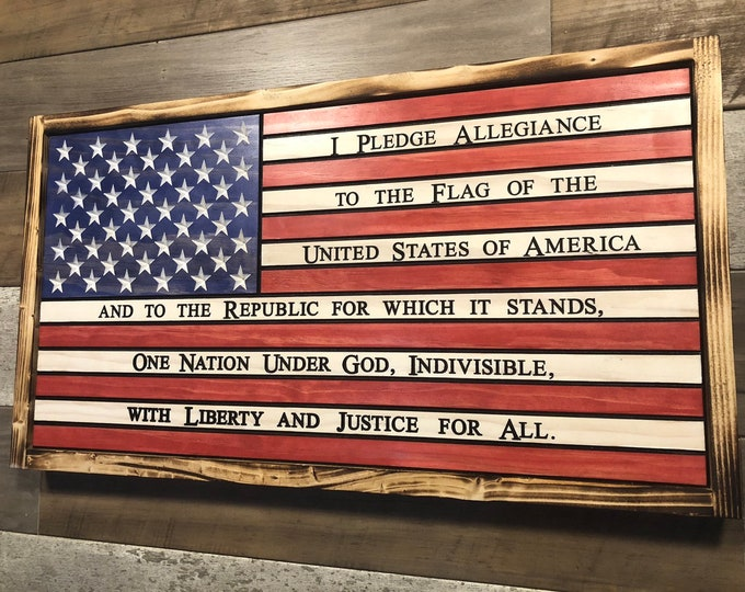 American Flag with Pledge of Allegiance Decor , USA, Red White and Blue, Torched, Burned, Rustic
