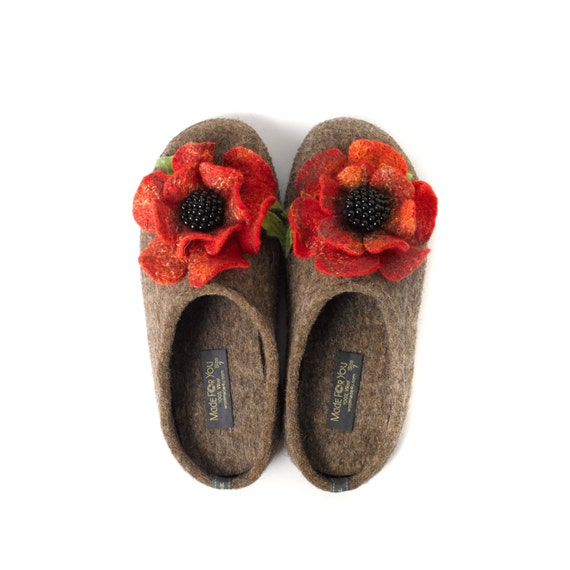 boiled Wool women's slippers with arch