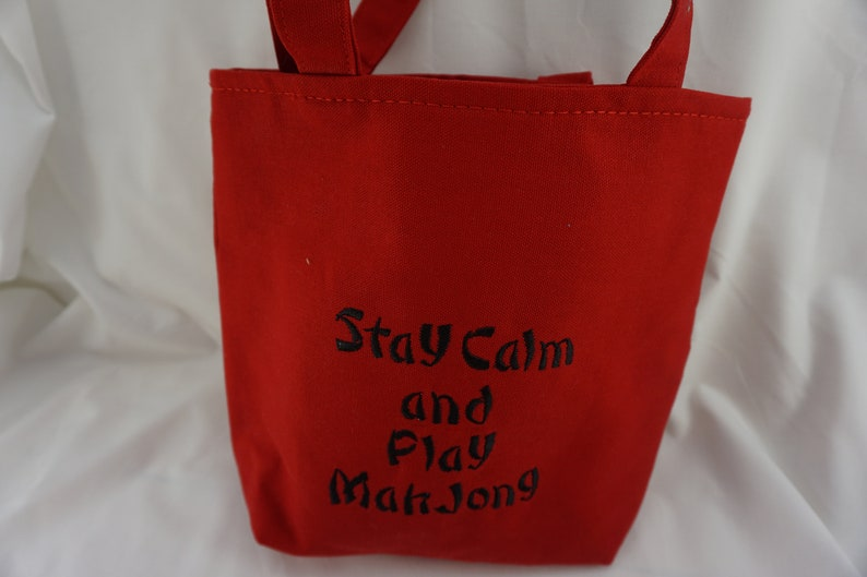 MahJong tote bag lined with straps