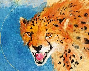 Cheetah Portrait, Cheetah Cat, Animal Art, Big Cat, Cheetah Print, Cheetah, Animal Portrait, Wildlife Painting