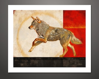 Coyote art, Coyote, Coyote Print, Nature Art, Coyote Painting, Wildlife Painting, Wall Decor