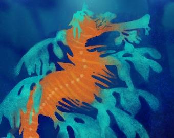 Leafy Sea Dragon Art Print, Leafy Sea Dragon Painting, Sea Dragon print, Ocean Life, Sea Life, Wall Decor, Nautical Decor, Sea Horse