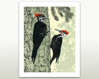Pileated woodpeckers, wildlife print, bird print, animal art, home decor, digital art, giclee print, 3 sizes available
