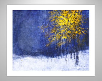 Early Snow Nocturne, landscape, landscape painting, home decor, contemporary art, semi-abstract, winter, snow, 3 sizes available