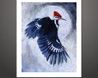 Woodpecker Moon, Woodpecker art, Pileated Woodpecker, Bird print, Woodpecker Print, Nature Art, Woodpecker Painting, Wildlife Painting