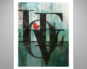 Love print, modern art, typography wall art, typography poster, love poster, contemporary print, 3 sizes available