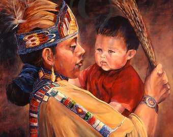 Mothers Love oil painting canvas print Native American Mother Child interaction western art interior design indian art southwestern style