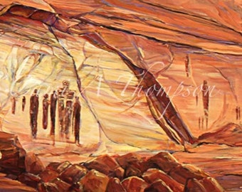 Grand Gallery Canyon lands National Park stone Ancient ones Petroglyphs Pictographs Southwest life oil painting giclees art interior design