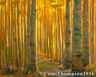Gold Landscape Print golden Autumn fall outdoor lifestyle trees wood sunlight path giclee print oil painting canvas fine art interior design
