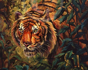 Tiger Tiger Burning Bright in the Darkness of the night   stalking tiger wildlife orange woods forest  giclee print