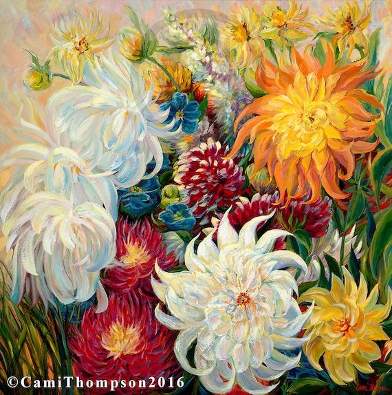 Big White Flowers Crazylove Dahlia Flower Art Oversize Canvas Etsy