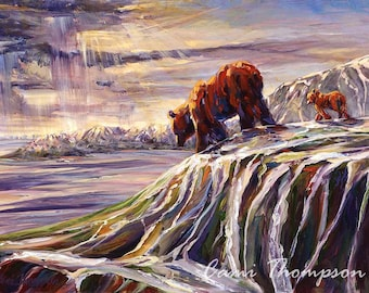 Bear and Cub Art Leaving the Den; Kodiak Bear Cub ocean Wall decor interior design educational inspiring environment mountains wildlife