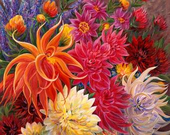 Dahlia Devanada flower art oversized canvas oil painting print  Orange Pinks yellow garden Square giclee print  wall decor interior design