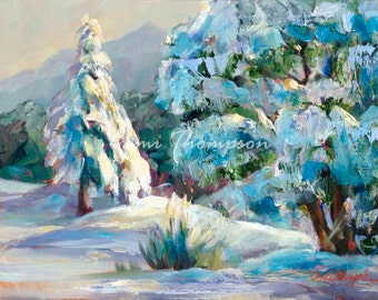 Snow Light  Snow Landscape snowy outdoor lifestyle trees woods sunlight path giclee print oil painting canvas fine art interior design