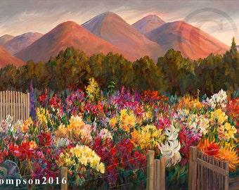 Dahlia Garden Flower  art  oversized canvas oil painting giclee print mountain  florals wall decor interior design