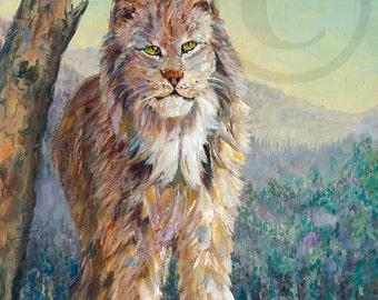 Lynx art life mountains giclee print oil painting canvas art wall decor interior design 12x16 canvas print  9x12 paper print
