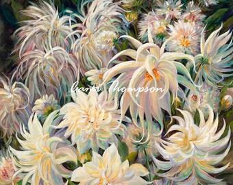 Big White Flowers Crazylove Dahlia  flower art oversize canvas oil painting giclee   garden Square giclee print  wall decor interior design