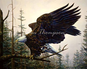 Bald Eagle National American symbol feather dramatic gorgeous bold Eagle art giclee print oil painting canvas art wall decor interior design