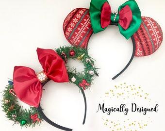 christmas wreath disney ears ugly christmas sweater ears minnie mouse ears mickeys very merry christmas party disney world parks lig - Disney Christmas Ears