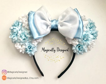 Cinderella Floral Minnie Ears, white and blue floral ears, mivkey mouse ears, Disney Ears