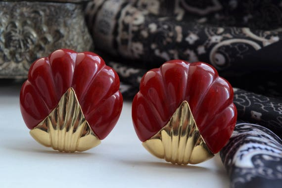 1960s Vintage Red Marbled Plastic & Yellow Brass … - image 4