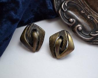 Vintage 1960s Mid Century Modern Bronze Clip on Earrings, Geometric, Interlocking Jewellery