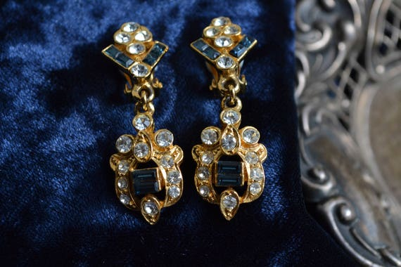 1930s French Sapphire Paste & Colourless Diamante,