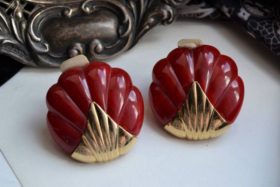 1960s Vintage Red Marbled Plastic & Yellow Brass … - image 1