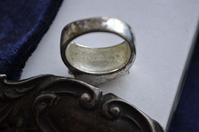 Resell Vintage Mid Century Silver Tone Upcycle Salvage Modernist Ring Colourless Rhinestones