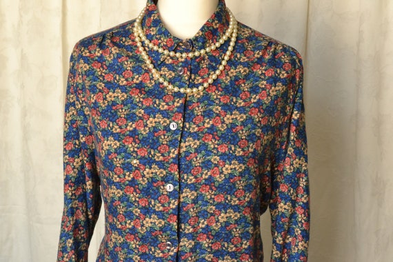 1970s Vintage Flannel Shirt With Floral Ditsy Prin