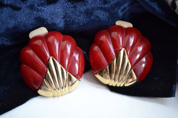 1960s Vintage Red Marbled Plastic & Yellow Brass … - image 3