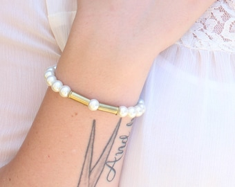 Pearl & Bullet Bracelet