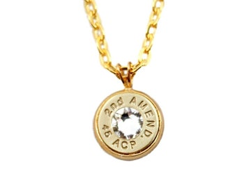 "45 ACP Bullet ""2nd Amend"" Necklace"