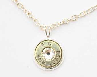 Silver Dainty Bullet Charm Necklace