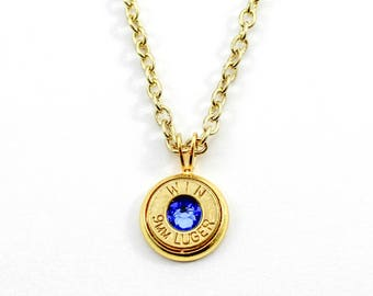 Gold & Sapphire Dainty Bullet Charm Necklace