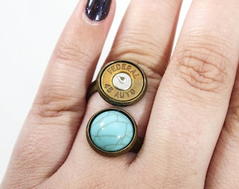 Turquoise Bullet Double Stack Ring