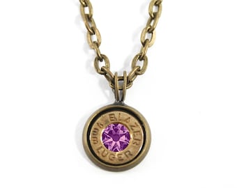 Brass Bullet and Stone Charm Necklace