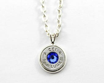 Sapphire Dainty Bullet Charm Necklace