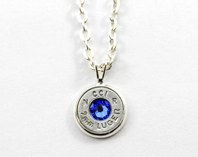 Featured listing image: Sapphire & Silver Dainty Bullet Charm Necklace