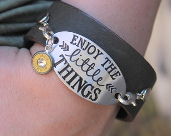 """Enjoy the Little Things Leather Cuff Bracelet"""