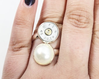 Pearl Double Stack Bullet Ring