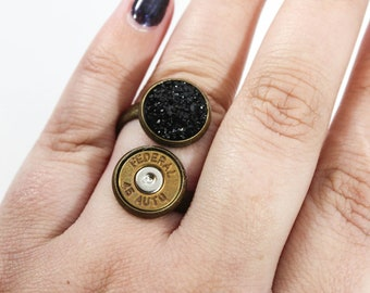 Druzy Double Stack Bullet Ring