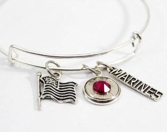 Marine Charm Bangle Bracelet// Bullet Jewelry // Military Wife // Soldier's Wife Jewelry // Patriotic Jewelry // Marine Wife // USA Pride