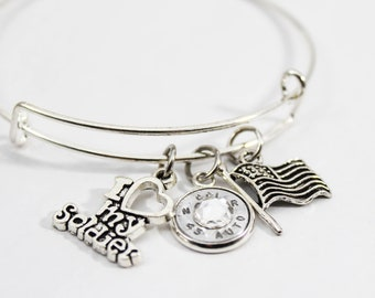 I Love My Soldier Charm Bangle Bracelet // Military Jewelry // Bullet Jewelry // Soldier's Mom// Patriotic Jewelry // USA Pride